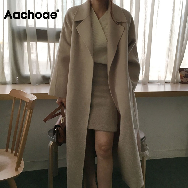 Aachoae Women Elegant Long Wool Coat With Belt Solid Color Long Sleeve Chic Outerwear Ladies Overcoat