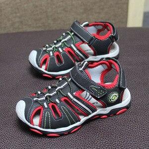 Image 2 - 新デザイン 1 ペア少年子供ビーチサンダルの革の靴、レジャーの子供靴
