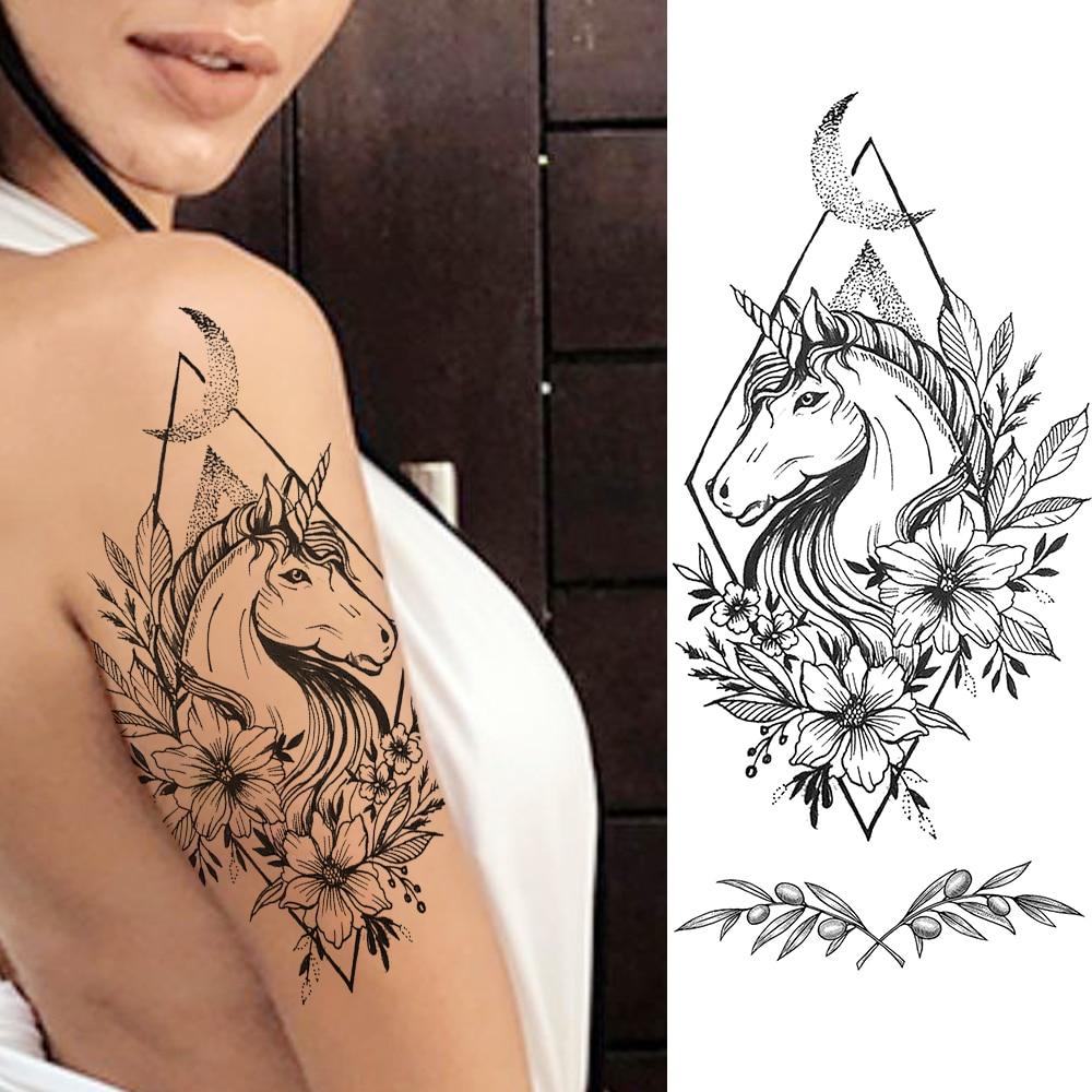 Waterproof Daisy Horse Temporary Tattoos Stickers Women Girls Black Flower Fake Tattoo Body Art Realistic Leaf Geometric Tatoo