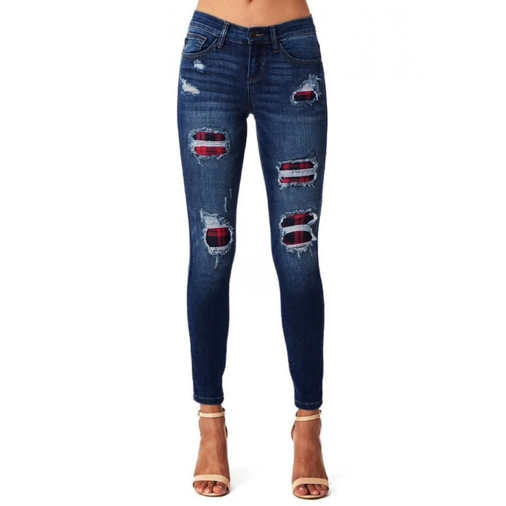 Women Cosplay Checkered Jeans Patchwork Casual Slim Fit Pants Female Casual Stretchy Denim Long Trousers Hole Pant Street Style
