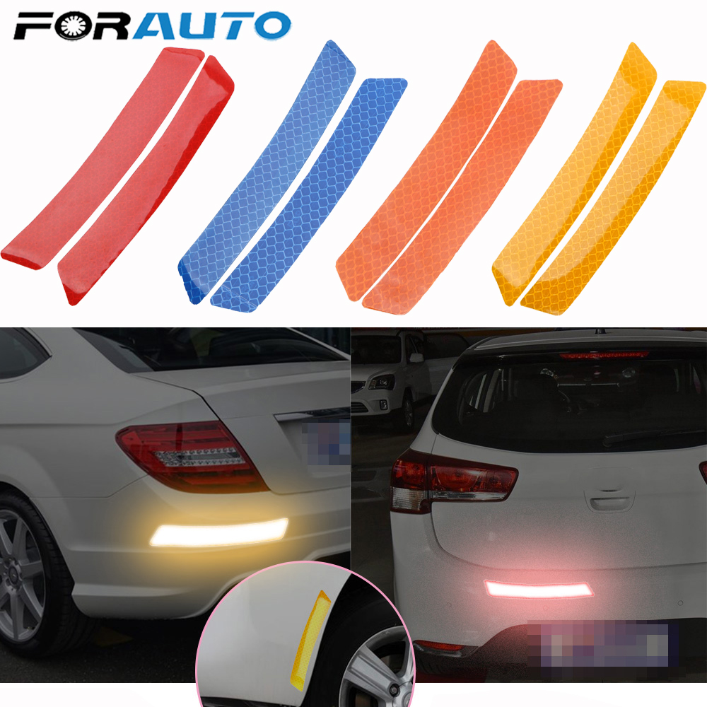 FORAUTO 2Pcs Reflector Protective Sticker Safety Warning Light Car Wheel Rim Eyebrow Reflective Warning Strip Stickers