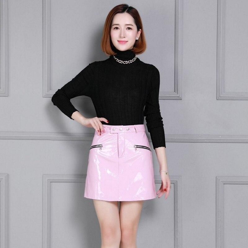 Fashion Bright Patent Leather Natural Leather A-Line Women Skirts Luxury Sheepskin High Waist Plus Size Wear Lower Body Skirts