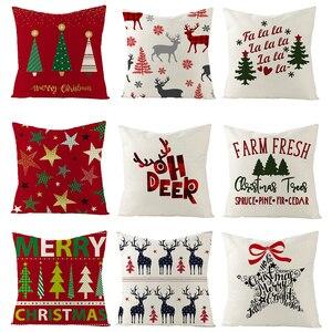 Noël maison housse de coussin 45*45CM taie d'oreiller canapé coussins taies d'oreiller coton oreiller couvre décorations de noël pour la maison