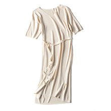Quality Ice Silk Casual Elegant Stretch Women Sashes Dress Solid Sexy Party Ladies Dresses Short Sleeve V-neck Knitted Vestido