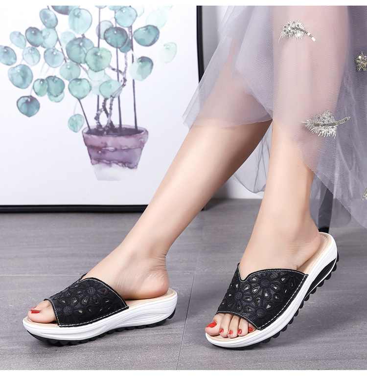 AH 1975-2020 Genuine Leather Womens Flat Slides Casual Hollows Summer Beach Flip Flops-11