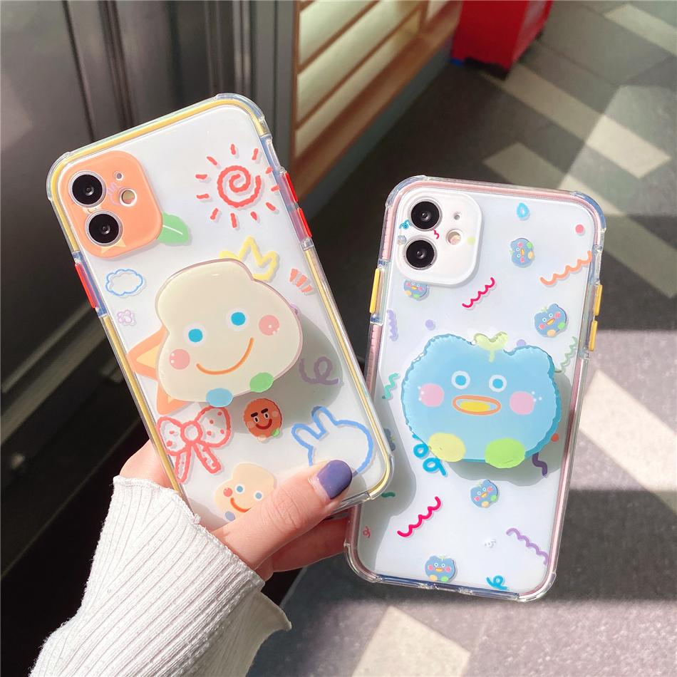 3D Cute Korean Cartoon Holder Stand Phone Case For Iphone 12 11 Pro XS Max XR X 7 8 Plus SE 2020 Soft TPU Clear Full Back Cover