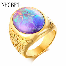 NHGBFT Classic gold-color Oval Solitaire Stone Ring For Mens Women Stainless Steel Wedding ring Jewelry