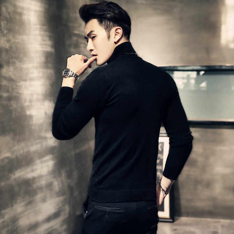 2019 inverno novo masculino gola alta blusas preto sexy marca de malha pullovers masculino cor sólida casual camisola outono malhas