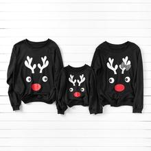 Simple Deer Pattern Family Sweatshirt Autumn and Winter Sports Leisure for Kid Mom Dad
