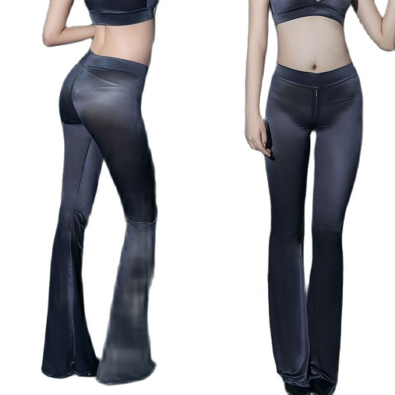 Oil Glossy Shiny Zipper Crotch Flare Pants Thin See Through Fantasy Hot Sexy Night Clubwear Trousers Wetlook Fitness Leggings