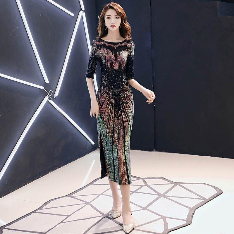 Robe De soirée 2019 nouveau Sexy paillettes Robe De soirée o-cou demi manches Maxi Robe De soirée Robe De bal AE474
