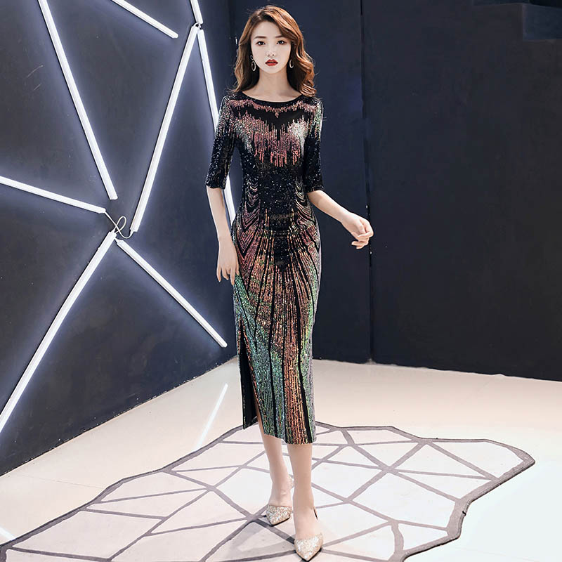 Robe De Soiree 2020 New Sexy Sequins Evening Dress O-neck Half Sleeves Maxi Dress Party Prom Dress AE474