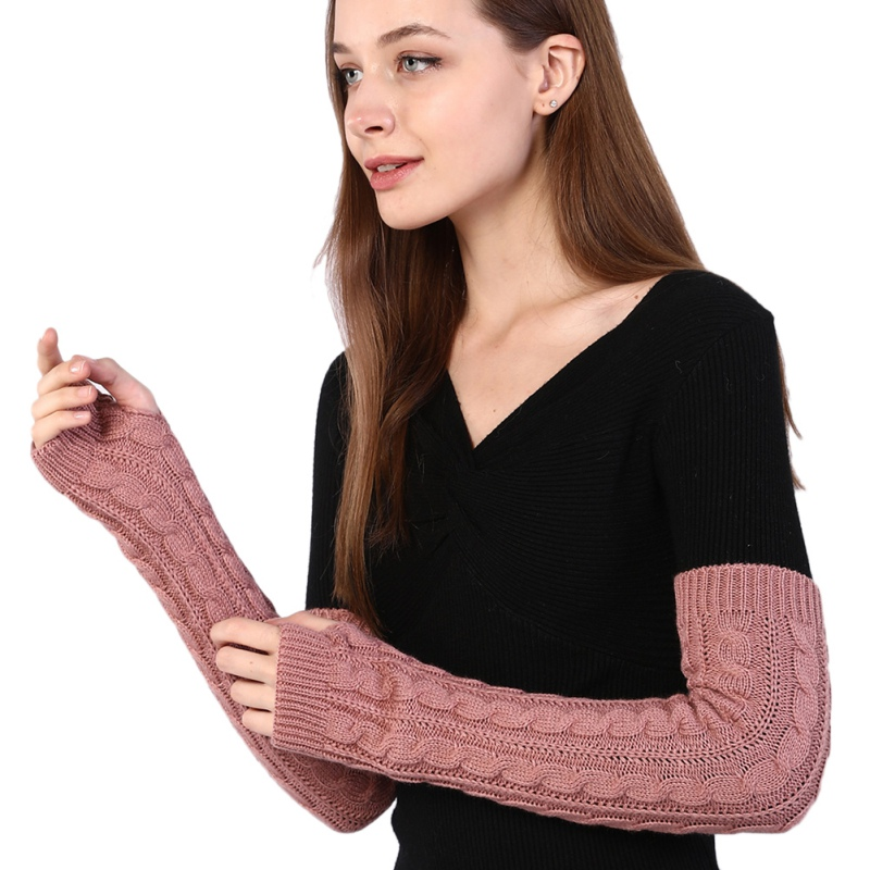 Autumn Winter Women Arm Warmers Half-finger Knitted Gloves Long Solid Color Warmers Arm Cover