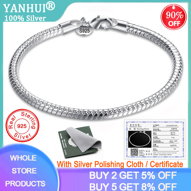 YANHUI With Certificate Original 925 Solid Silver Snake Chain Bangle & Bracelet Fine Jewelry 20CM Bracelet for Women Gift HB001
