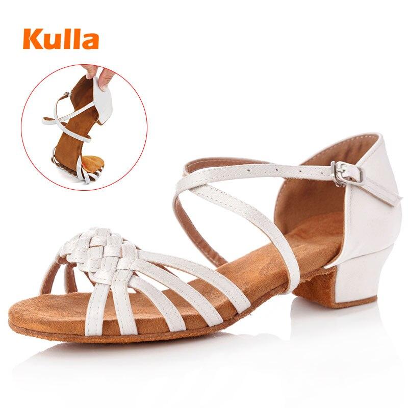 Children Girls Latin Dance Shoes Women Ballroom Salsa Kids Dance Shoes Low Heels White Tango Dancing Shoes Wholesale Size 24-41