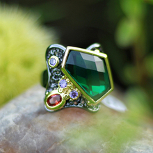 Big Irregualr Green crystal Ring Pretty Gun Black Jewellery Best gift for Mom Copper Jewelry rings wife