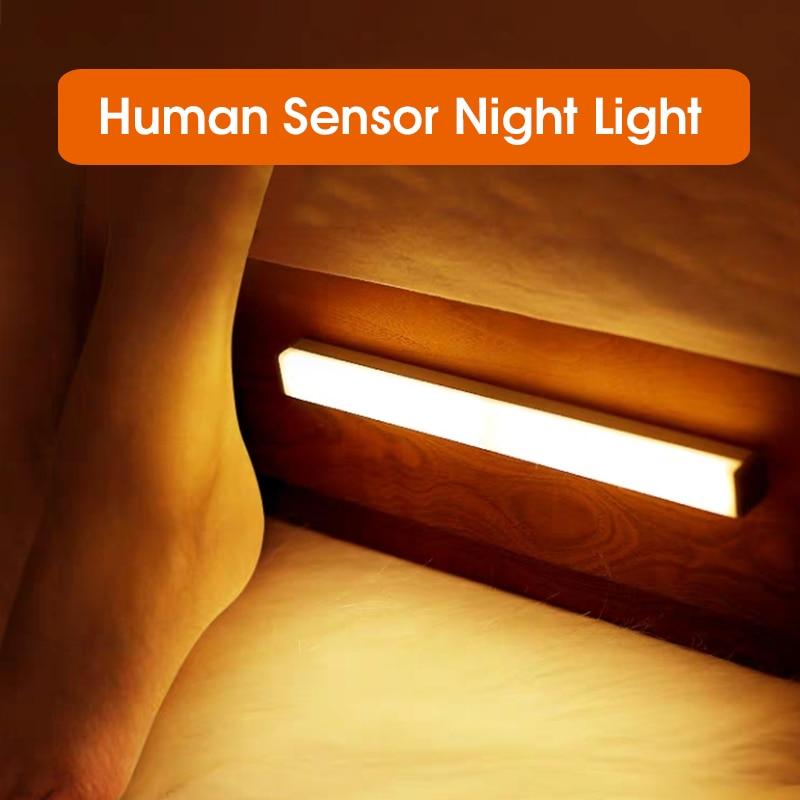2020 LED veilleuse capteur de mouvement sans fil USB Rechargeable 20 30 40 50cm nuit lampe pour armoire de cuisine armoire applique