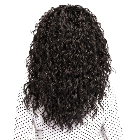 X-TRESS Lace Part Synthetic Hair Wigs Natural Black Color Medium Length Kinky Curly Wave High Temperature Fiber Middle Part Wig Karachi