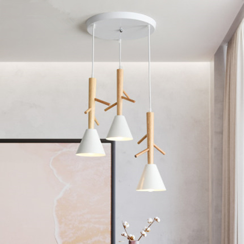 Tree Shaped Wooden Pendant Lights With White Metal Lampshade