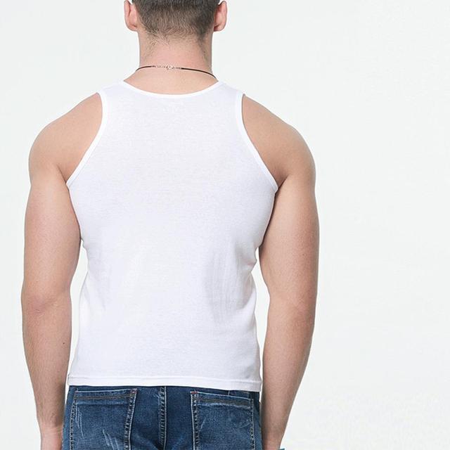 Oversized Men Summer Solid Color Breathable Soft Tank Tops Casual Slim Homme Sleeveless Black White O-neck Vest Tops 8