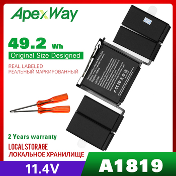 11.4V 49.2Wh Apexway A1819 Laptop Battery for Apple Macbook Pro 13'' Touch Bar A1706 2016year With Tools Screwdriver Battery