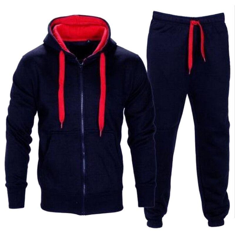 Tracksuit Men 2019 Autumn Sportwear Fashion Mens Hip Hop Set 2PC Zipper Hooded Sweatshirt Jacket+Pant  Suit