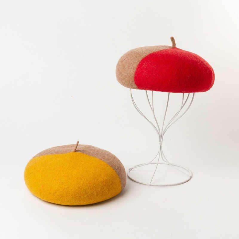 Cokk Mũ Nón Nữ Len Mùa Đông Mũ Nồi Họa Sĩ Nắp Ấm Mũ Nấm Nữ Vintage Bonnet Anh Vàng Đỏ Gorras Chapeau Femme