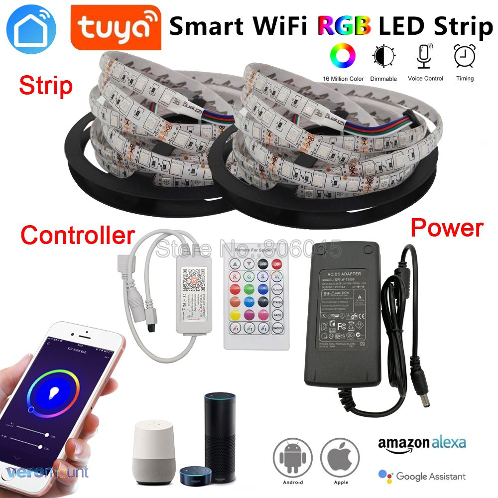 5m 10m 5050 RGB LED Strip Set Flexible LED Tape + Tuya Smartlife Wifi Controller Alexa Google Home Voice Control + Power Supply