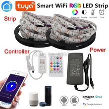 5m 10m 5050 RGB LED Strip Set Flexible LED Tape + Tuya Smartlife Wifi Controller Alexa Google Home Voice Control + Power Supply