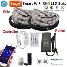 5m 10m 5050 rgb led strip conjunto flexível led fita + tuya smartlife wifi controlador alexa google casa controle de voz + fonte de alimentação