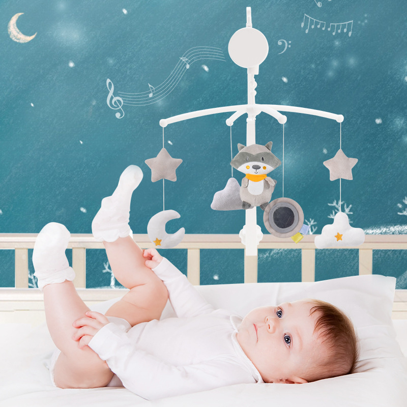 Cartoon Baby Crib Mobiles Rattles Music Educational Toys Bed Bell Carousel For Cots Infant Baby Toys 0-12 Months For Newborns