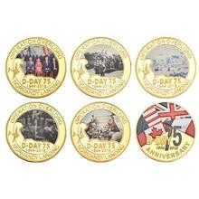 Wr normandia landing 75th aniversário moedas de ouro colecionáveis com titular europa moedas de guerra presentes originais para homem dropshipping