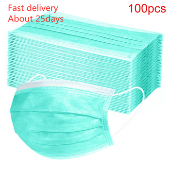 In Stock Mask 100pcs Disposable 3-Ply Masks Anti-Dust Face Mask With Elastic Earloop Kids Fast Delivery tanie i dobre opinie mascarilla coronavirus Węgiel aktywny Torby Pokój mask coronavirus