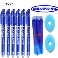 28Pcs/Lot Erasable Pen Set Washable Handle Blue Black Ink Writing Gel Pens for School Office Stationery Supplies Exam Spare