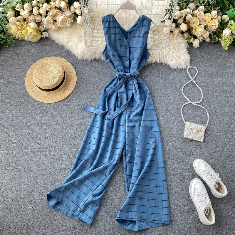 2020 Slim V Neck Vintage Plaid Print Sexy Summer Full Length Bandage Jumpsuit Button Women Tank Playsuit Elegant Beach Romper
