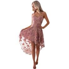 Женское платье с вышивкой асимметричное кружевное v образным