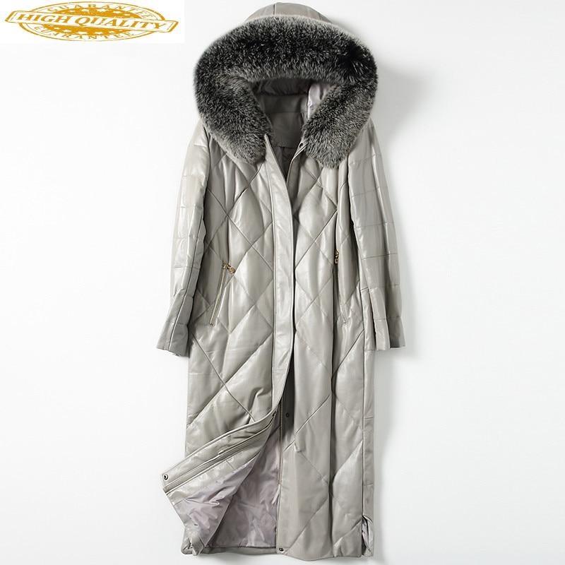 Genuine Leather Jacket Winter Jacket Women Real Sheepskin Coat Female Fox Fur Collar Down Jackets Chaqueta Mujer MY3924