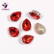YANRUO Teardrop Light Siam Claw Crystals K9 Marking Jewelry Ornaments Silver Gold Base Studs Rhinestones