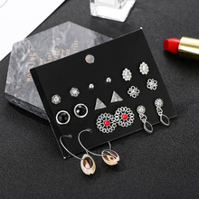 vintage silver geometric triangle crystal earrings  new carved flower earrings for women trendy seashell party jewelry earrings everoyal vintage crystal pearl earrings for women accessories trendy 925 sterling silver earrings jewelry female geometric bijou
