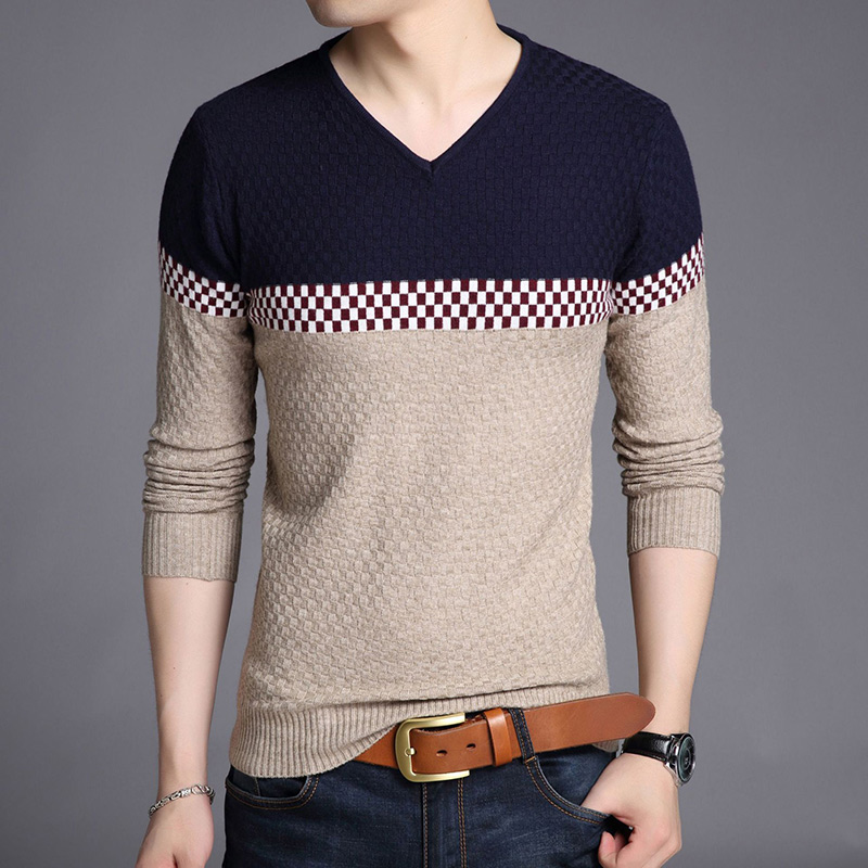 Knitting Casual  Sweater Men Long Sleeve Pullovers Outwear Man V-Neck Sweaters Tops Loose Solid Fit Knitting Clothing New Autum