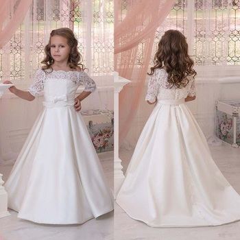 Elegant Flower Girl Dresses For Wedding with Half Sleeves Lace Strapless A Line Ivory Satin Children Dresses with Bow Sash