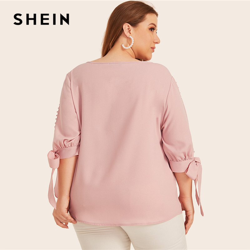 SHEIN Plus Size Pink Pearl Beaded Knot Cuff Top Women Elegant Blouse Autumn Office Lady Solid Womens Tops and Blouses 2