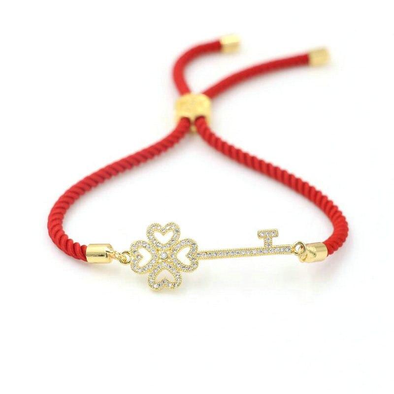 Women's Bracelet Micro CZ Copper Key Bracelet Red Thread Rope Strings Adjustable Women Bracelets Girls Kids Jewelry Gift
