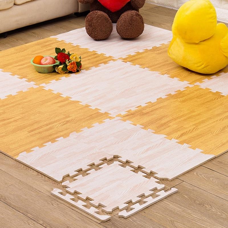 16 Pcs Soft Wood Puzzle Mat Baby Play
