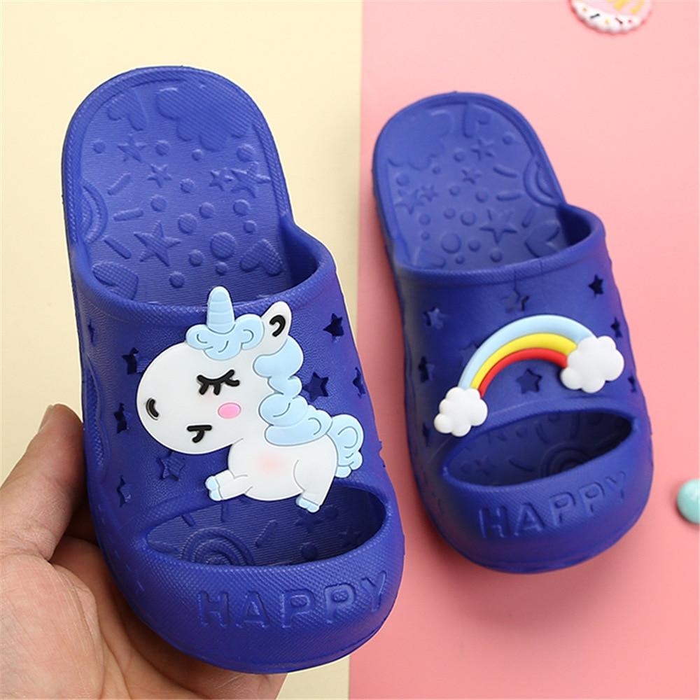 Unicorn Horse Rainbow Toe-Protected Kids Shoes Girls Children Slippers Boys Clog Baby Flip Flop Garden Footwear Home Beach EVA