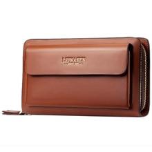 Leinasen Brand Men Wallets With Coin Pocket Zipper Double Zipper Male Wallet Long Large Men Purse Coin Clutch Bag недорого