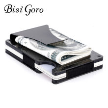 Bisi Goro Carbon Fiber Black Bank ID Card Holder 2019 Men Metal RFID Anti-thief Wallet Mini Money Clip New Fashion Slim Wallet(China)