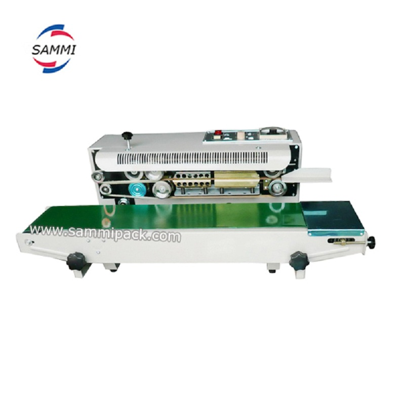 Horizontal Continuous Band Sealer Plastic Bag Sealing Machine With Printing