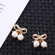 Japan and South Korea Sen Senior Sense of Niche Design Temperament Simplicity New Bow Pearl Earrings Drop Jewelry