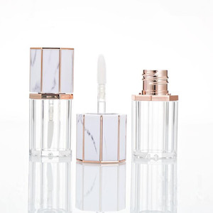 1 Pieces 5ml Empty White Marble Cap Clear Plastic Lip Gloss Tube Travel Refillable Bottles Cosmetic Container
